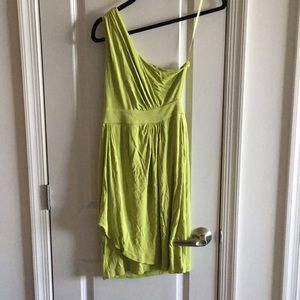 Lime DVF one shoulder dress